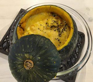ハロウィンパーティのおもてなし料理に♪かぼちゃのまるごとグラタンの作り方♪カボチャ大量消費メニューにも♪