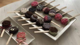 バレンタインレシピ♡【ミニチョコパイで可愛いケーキポップの作り方】オーブンなしで子供でも簡単おしゃれに大量生産可♪友チョコにも本命チョコにも♪